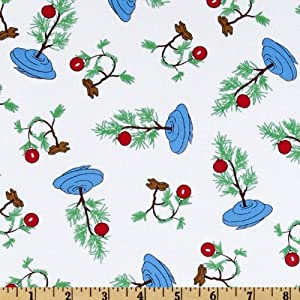 Christmas Time Peanuts Tree White Fabric