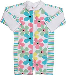 Snapper Rock Girl's UV One Piece Suit-Flowers/Stripes Long Sleeve Swimsuit - Multicoloured, 0 - 0.5 Years
