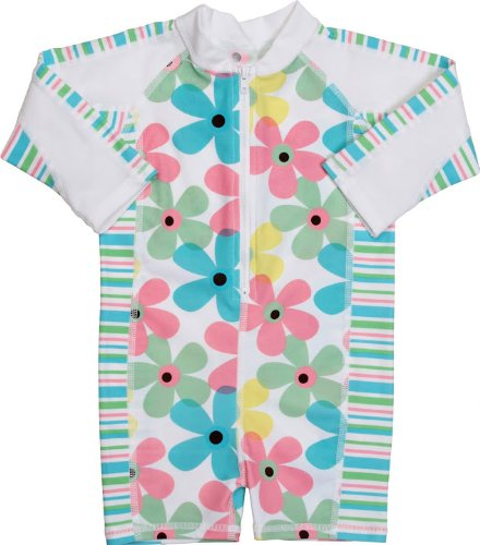 Snapper Rock UV-Protective Baby Girl's Long-Sleeve Swimwear/Sunsuit Pastel Daisy Stripe 6-12 Months