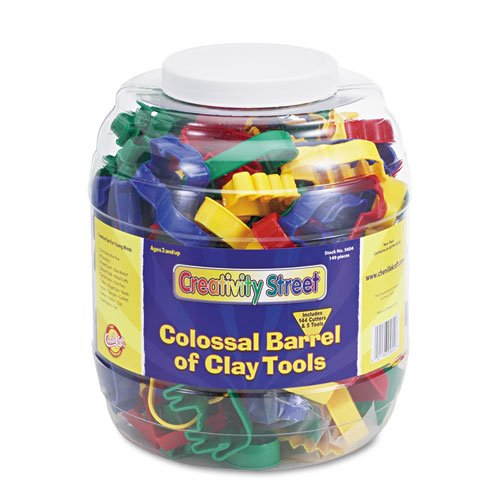 Creativity Street® - Colossal Barrel of Clay Tools, 144 Cutters in 24 Designs, Five Tools in Each - Sold As 1 Each - Reusable storage barrel contains five clay tools to cut, flatten and make clay impressions, plus 144 clay cutters in 24 different designs, including shapes from nature, animals, seasonal symbols and modes of transportation.