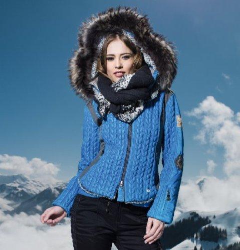 Sportalm Kitzbühel Mount Gec mit Kapuze und Echtpelz - Damen Jacke Skijacke blau Gr. 36