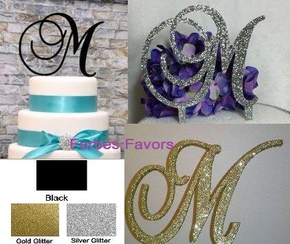 Monogram Inital Letter Acrylic Cake Topper Wedding A B C D E F G H I J K L M N O P Q R S T U V W X Y Z & (W, Glittery Silver)