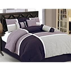 Chezmoi Collection 7-Piece Quilted Patchwork Duvet Cover Set, King, Lavender Purple