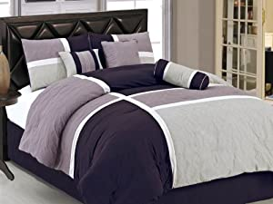Chezmoi Collection 7-Piece Quilted Patchwork Comforter Set, Queen, Lavender Purple