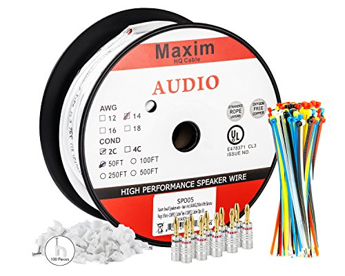 In Wall Speaker Wire | 50 Feet | 14AWG CL3 Rated 2-Conductor Wire White Oxygen Free Copper includes banana plugs cable clips and ties (D S ++@+ 1 compare prices)