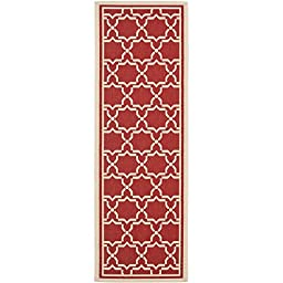 Safavieh Courtyard Collection CY6916-248 Red and Bone Indoor/ Outdoor Runner, 2 feet 3 inches by 8 feet (2\'3\