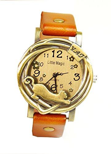 [リトルマジック] Little magic 猫 腕時計 可愛い 本革 アンティーク 風 日本製クオーツ使用 L0018 猫時計 かわいい ネコ レディース 革ベルト (ライトブラウン)