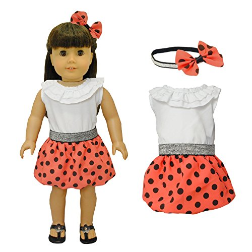 Doll-Clothes-Red-Polka-Dress-Clothing-with-Head-Band-Set-Fits-American-Girl-Doll-My-Life-Doll-Our-Generation-and-other-18-inch-Dolls