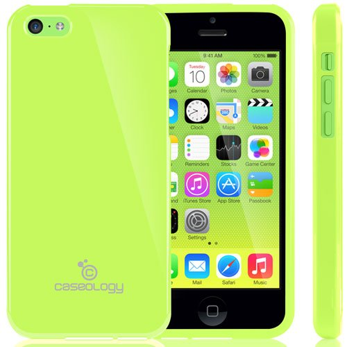 [Drop Protection] Caseology Apple Iphone 5C [Lime Green] Slim Fit Skin Cover [Shock Absorbent] Tpu Bumper Case [Made In Korea] (For Verizon, At&T Sprint, T-Mobile, Unlocked) front-849099