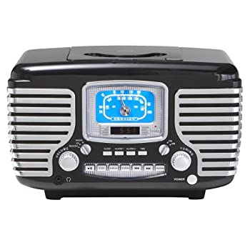 Crosley CR612-BK Corsair Retro AM/FM Dual Alarm Clock Radio with CD Player, Black