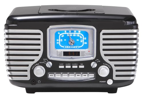 Crosley CR612-BK Corsair Retro AM/FM Dual Alarm Clock Radio with CD Player, Black 2