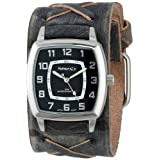 Nemesis Men's FXB017K Classic Vintage Stainless Steel Watch with X-Stitched Charcoal Leather Cuff