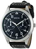 Breda Mens 8164-black/blk face Zach Oversized Pilot Style Leather Watch