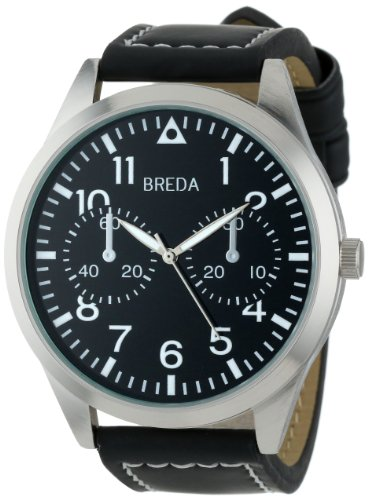 Breda Men's 8164-black/blk face Zach Oversized Pilot Style Leather Watch