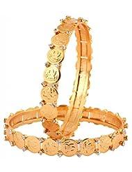 The Jewelbox Classic 22K Gold Plated Lakshmi Coin American Diamond Bangle Pair
