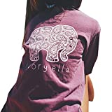 Moin Women Round Neck Cotton Shirt Elephant Pattern On Front Pocket And Back