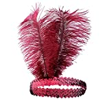 Babeyond Roaring 20's Sequined Showgirl Flapper Headband Black with Feather Plume (Wine Red)