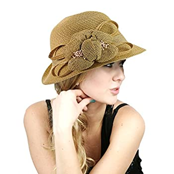 NYfashion101 Side Flip Cloche Bucket Hat w/ Woven Flower & Ribbon Accent
