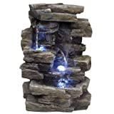 Alpine Waterfall Tabletop Fountain w/ LED Lighting