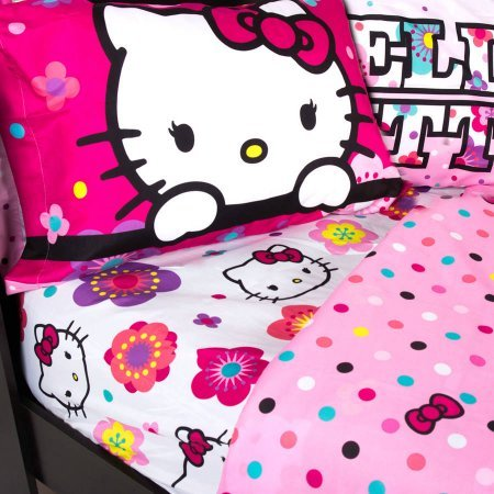 Hello-Kitty-Floral-Ombre-Reversible-Bedding-Sheet-Set-TWIN-SIZE