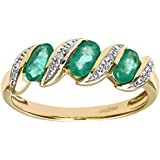 Naava 9ct Yellow Gold Diamond and Emerald Eternity Ladies Ring