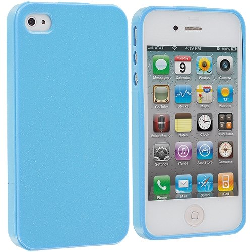 Cell Accessories For Less (Tm) Baby Blue Glitter Tpu Rubber Skin Case Cover For Apple Iphone 4 / 4S + Bundle (Stylus & Micro Cleaning Cloth) - By Thetargetbuys front-980804
