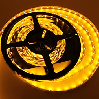 16.4ft (5m) AMBER Flexible LED Strip Lights - 3528 SMD 300LEDs/pc - Non-waterproof IP-44