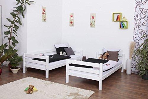 Lit superposé / Lit de jeu Moritz en hêtre massif peint en blanc, sommier à lattes déroulable inclus - 90 x 200 cm