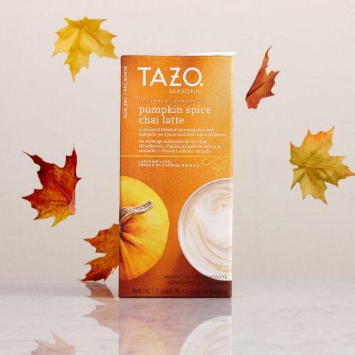 Tazo Pumpkin Spice Chai Tea Latte Concentrate (32 Oz, 1 Quart) - Pack Of 3 front-453424