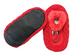 Neska Moda Premium Super Soft Cotton Unisex Kids Winter Booties-18 CM Length For Age Group 5-8 Years-Red,Black