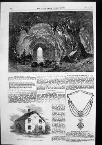 Antique Print Of Blue Grotto Capri Badge Chain Mayor Hull Cottage Labourer1857