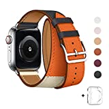 WFEAGL Compatible iWatch Band 38mm 40mm 42mm 44mm, Top Grain Leather Double Tour Band for iWatch Series 4,Series 3,Series 2,Series 1,Sport, Edition (Indigo/Ivory/Orange Band+Silver Buckle, 38mm 40mm) (Color: Indigo/Ivory/Orange Band+Silver Buckle, Tamaño: 38mm 40mm)