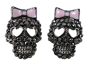 DaisyJewel Marcasite Crystal Gunmetal Calavera Skull Stud Earrings