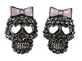 DaisyJewel Marcasite Crystal Gunmetal Calavera Skull Stud Earrings