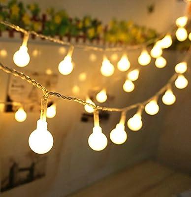 100 LED 38Ft/12m Globe Ball Outdoor / Indoor Led String Lights with Safety 31V transformer US Plug,Color Warm White(IP44 Waterproof)