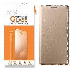 Johra Tempered Glass, Premium HD+ Tempered Glass Screen Combo Flip Cover Gold Golden Leather Flip Case Cover for Samsung J7 Prime Flip Cover