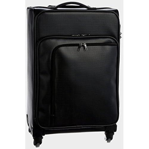 (ヒデオワカマツ) HIDEO WAKAMATSU アイラ TSAカードロック搭載 パンチングレザー調ソフトキャリー (Sサイズ(43㎝・約18L・約1~2泊用), ブラック)