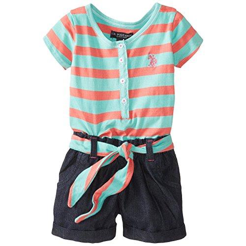 U.S. Polo Assn. Little Girls' Henley Stripe Knit Top And Denim Short Romper, Frozen Aqua, 6X