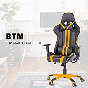 BTM Gaming Chair Racing Chair High Back Executive Office Recliner Gaming Chair Faux Leather (Yellow)