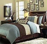 6 Piece Blue Brown Beige Regatta TWIN Comforter Set with accent pillows