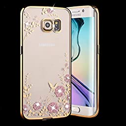 Samsung Galaxy S7 Edge Case,Inspirationc® [Secret Garden] Gold and Pink TPU Plating Clear Shiny Cover Series for Samsung Galaxy S7 Edge--Swarovski