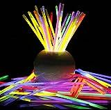 [L1-1000-J] 大量 全6色 1000 本 / 200 本 / 100 本 / 50 本 光る ブレスレット ケミカルライト セット ♪ ジョイント も同数付属 で沢山の ブレスレット ネックレス が作れます!赤 橙 黄 青 黄緑 ピンク スティック + スノーマーク 撥水 ルミライト ケース + ミニ蓄光体 計4点セット ♪♪ クリスマス < 6 色 1000 本 J >