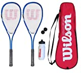 2 x Wilson Squash Racket Set with Balls, Waterbottle & Carrycase RRP £80
