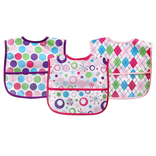 Luvable Friends Polyester Bibs, Pink, 3 Count - 1
