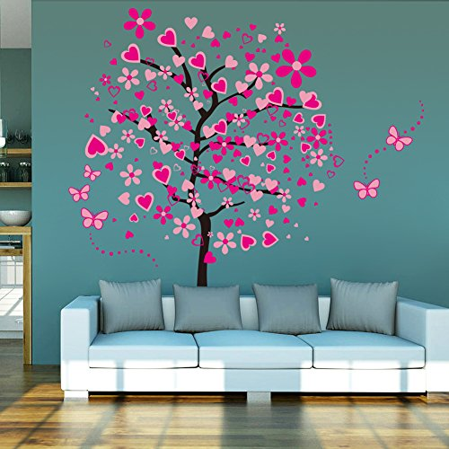 ElecMotive Huge Size Cartoon Heart Tree Butterfly Wall Decal