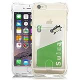 TaoTech iPhone 用 TPU シリコン クリア ケース カードホルダー ストラップホール 付 クリスタル ソフト カバー (iPhone6 Plus/iPhone6s Plus, カードホルダー(クリア))