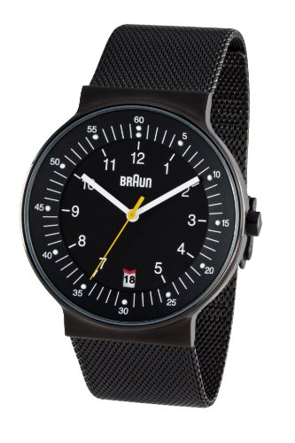 Braun Men's Quartz 3 Hand Movement Watch BN0082BKBKMHG With Mesh Bracelet