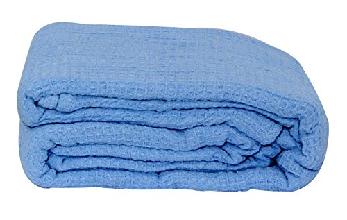 LCM Home Fashions Cotton Thermal Blanket, Twin, Lite Blue (Lcm Home Fashions Inc compare prices)