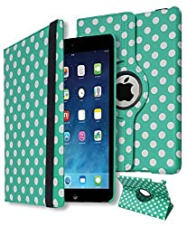 iPad Air Case, Bastex Synthetic Leather Case Cover (360 Rotating Stand and Automatic Wake/Sleep Function) for Apple iPad Air iPad 5 (2013 Model) (Teal/White Dot)