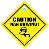 Caution Nan Driving Car Sign, Nan Driving Car Sign, Baby on Board, Baby Sign, Decal, Bumper Sticker, Grandparent Sign, Grandparent Car Sign, Tailgater Car Sign, Baby on Board Sign Style, Bumper Sticker Style